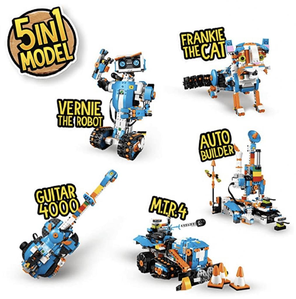 Das Lego-Boost-Set enthält Anleitungen für 5 verschiedene Roboter und Maschinen