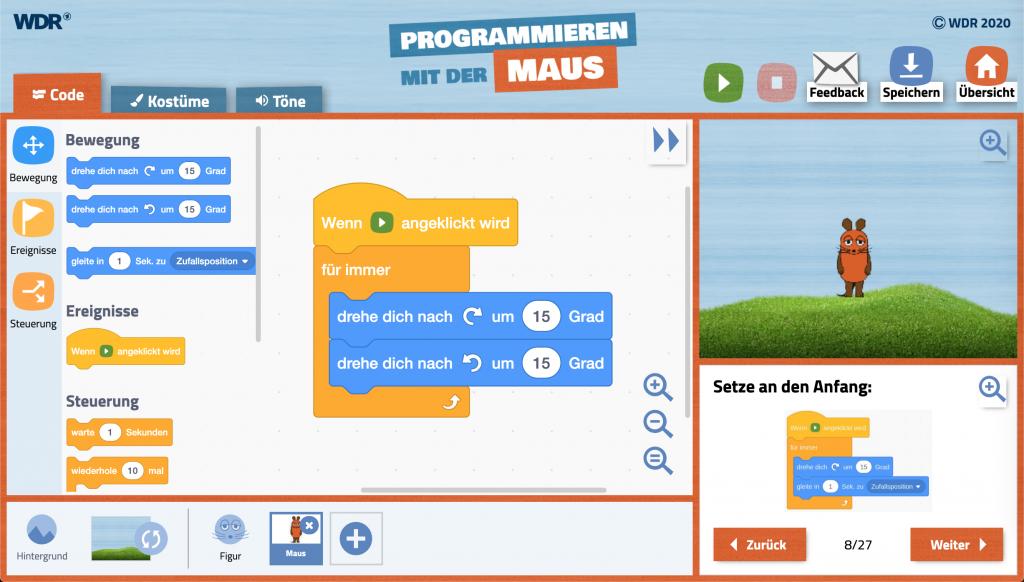 Programmieren Lernen für Kinder mit der Maus-App